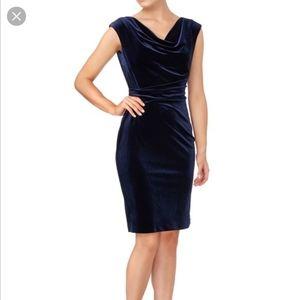 Vince Camuto Navy Velvet Cowl Neck Sheath Dress